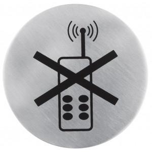 Semn indicator pentru interzicere utilizare telefoane mobile (din inox),  Ø 7.5 cm