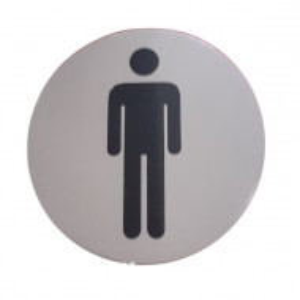 Semn indicator inox toaleta barbati , Ø 8 cm - autoadeziv