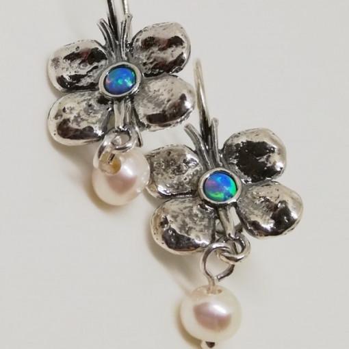 Cercei argint opal E293