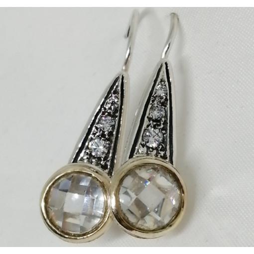 Cercei argint si aur 14k cu zircon E20885