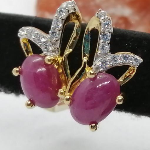 Cercei Floressa -argint placat cu aur si rubin VE033213