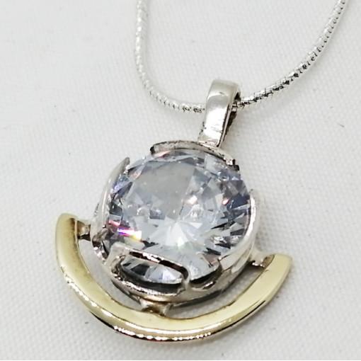Colier argint și aur 14K- 410072 zircon