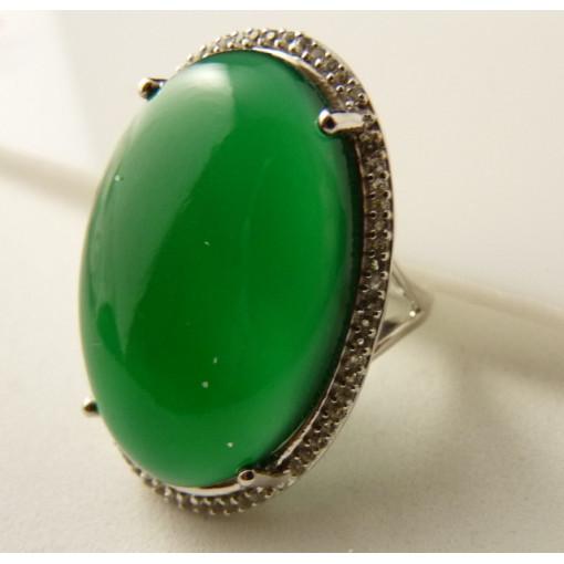 Inel argint piatra masiva onix verde -VR09959-2