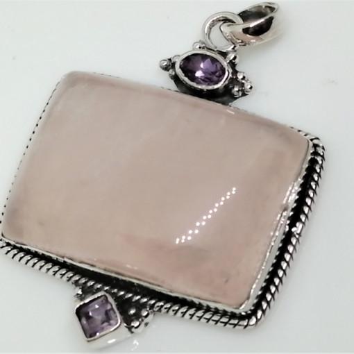 Pandantiv argint cuart roz- P13