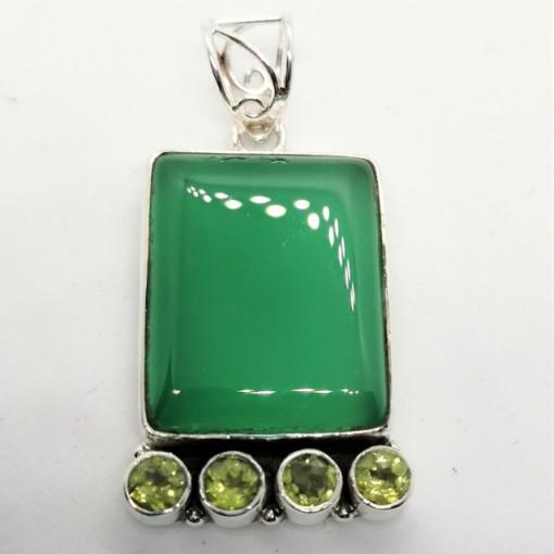 Pandantiv argint - P45-1 onix verde