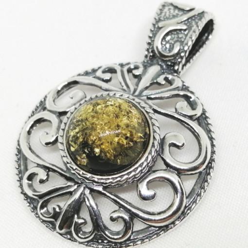 Pandantiv din argint si chihlimbar P899