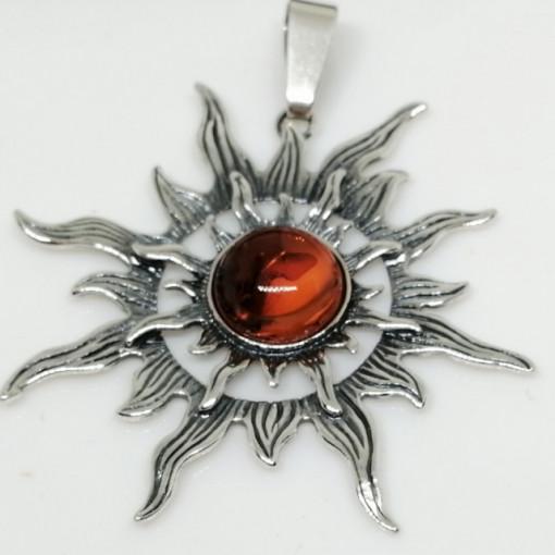 Pandantiv mare din argint si chihlimbar -Soare-P395-2