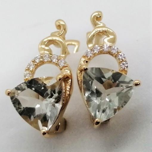 Alicia -cercei- argint placat cu aur -VE027629 ametist verde