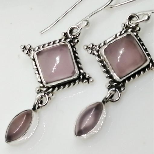 Cercei argint cuart roz- E96