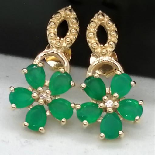 Cercei CORINA -argint placat cu aur -onix verde -VE014887