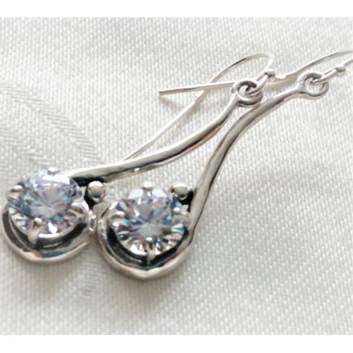 Cercei din argint cu zircon-E11566