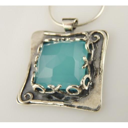 Colier argint blue ocean quartz N3045