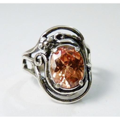 Inel argint champagne quartz R1008