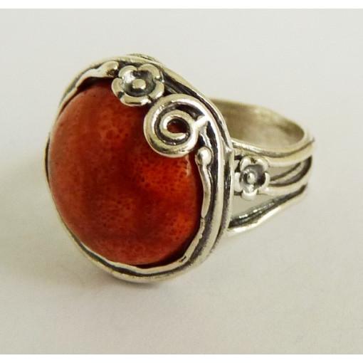Inel argint -coral-R900