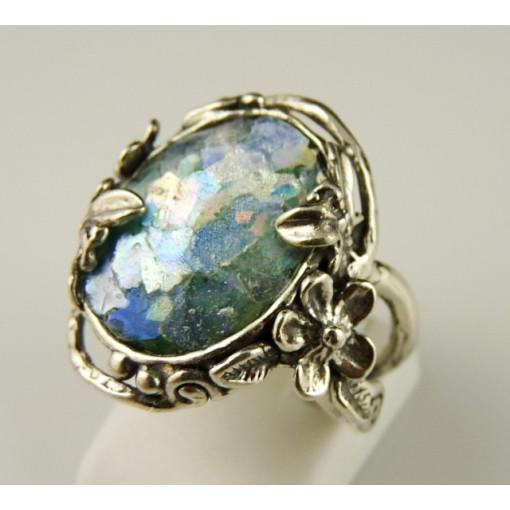 Inel argint cu sticla romana- R9676-1
