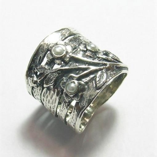 Inel argint perle- R9718-1