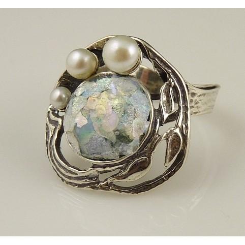 Inel argint sticla romana R8712-1