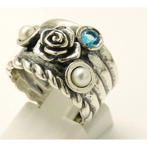 Inel argint topaz si perla R1797