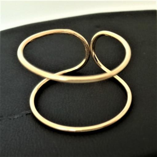 Inel REGLABIL -argint placat cu aur galben-RRG100-2