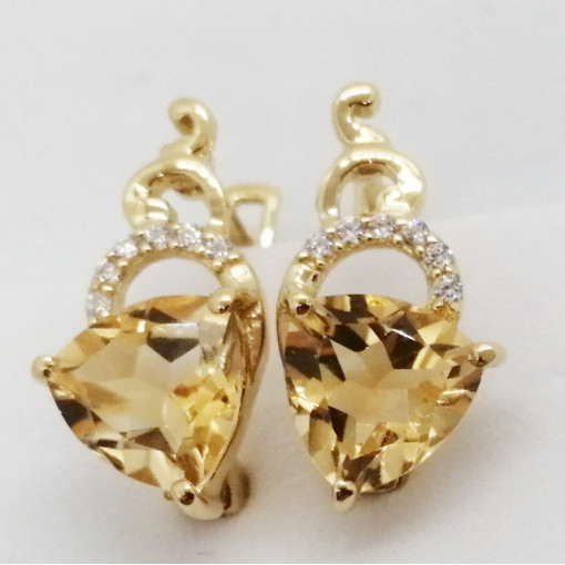 Alicia -cercei- argint placat cu aur -VE027629 citrin