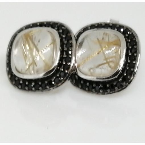 Cercei argint -VE031714 cuart rutilat