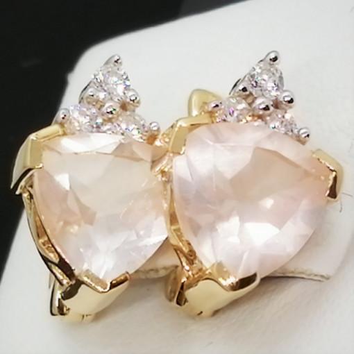 Cercei Sophie -argint placat cu aur -VE014552 cuart roz