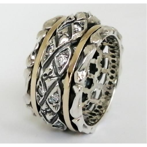 Inel argint si aur 14k -RG10-23