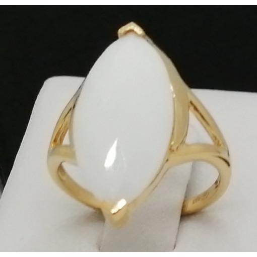 Inel Roanne -argint placat cu aur galben -VR012678- onix alb