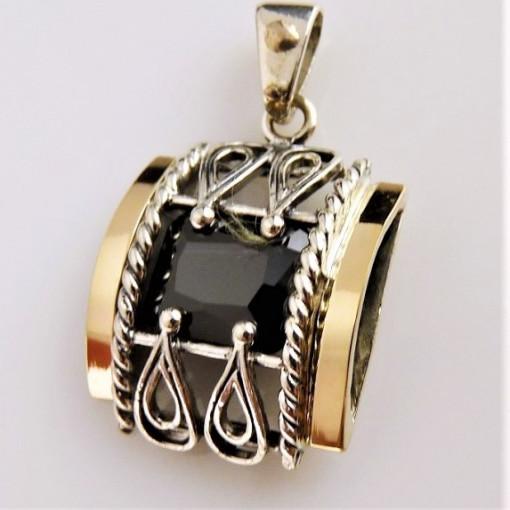 Pandantiv argint si aur 9 k -20001 black zircon