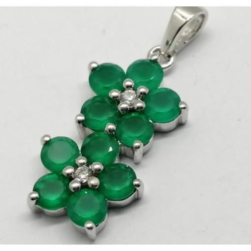 Pandantiv argint VP016717- piatra onix verde