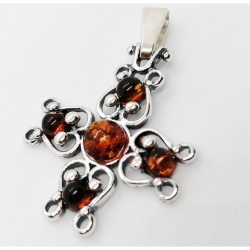 Pandantiv din argint cruciulita chihlimbar - P272-1