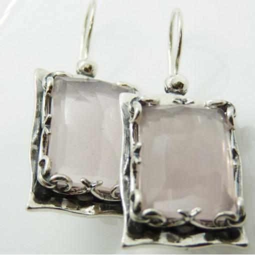 Cercei argint E3153 cuart roz