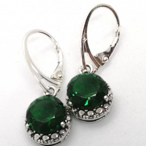 Cercei argint -green quartz -E2831