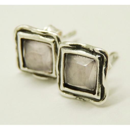 Cercei din argint cu surub cuart roz E4369A