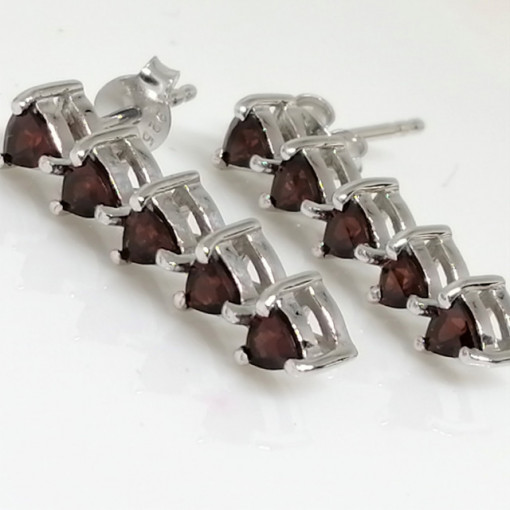Cercei din argint cu surub VE016423-Granat