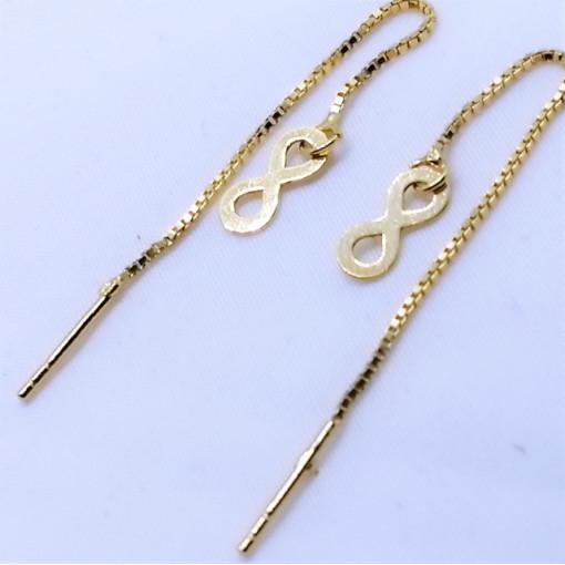 Cercei din argint placati cu aur -E3580-Simbol Infinit