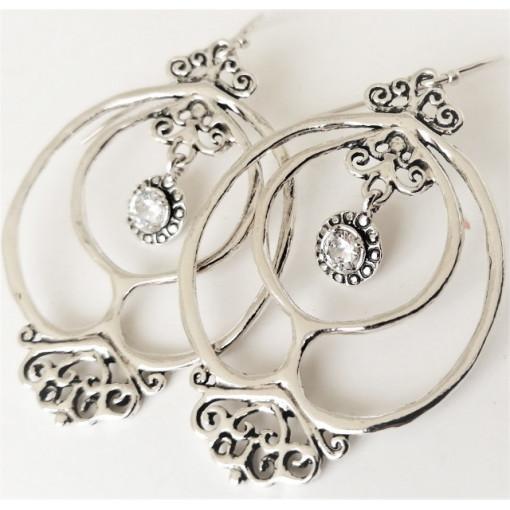 Cercei mari din argint si zircon E11188