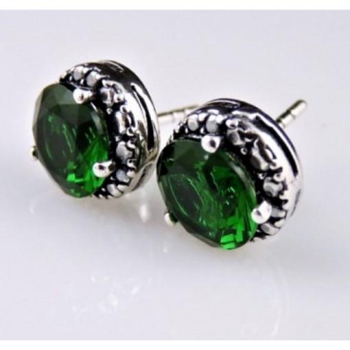 Cercei surub din argint -green quartz E2833