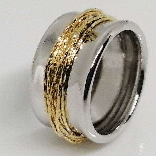Inel argint cu fire din argint placat cu aur galben-ANPI0784RBRH