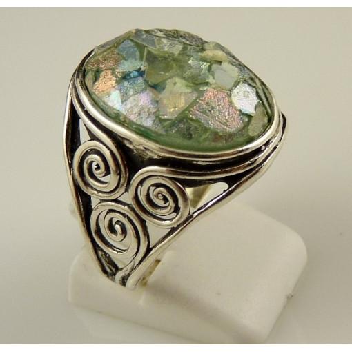 Inel argint sticla romana R8596-1