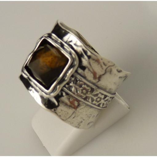 Inel argint vintage cuart fumuriu - R438