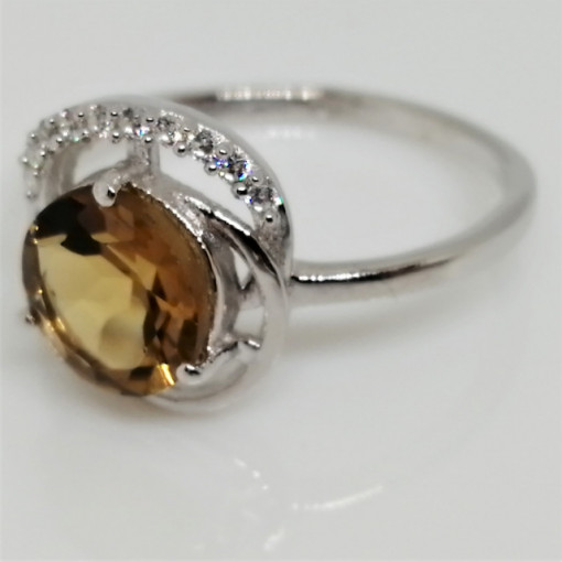Inel argint VR08284-piatra whisky quartz