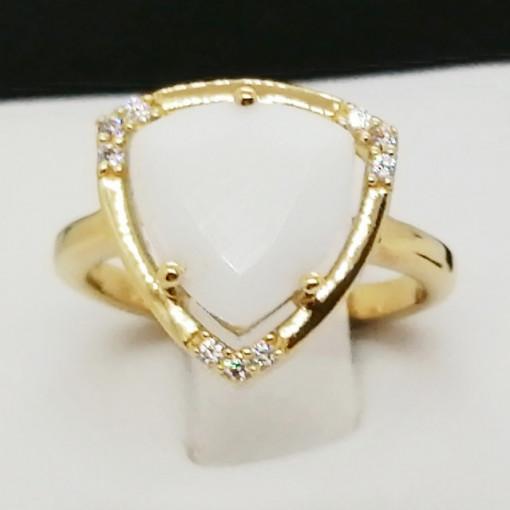 Inel Lille -argint placat cu aur -VR016161 onix alb