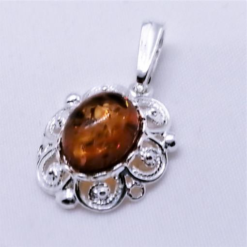 Pandantiv argint chihlimbar P1177