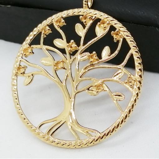 Pandantiv tree of life-argint placat cu aur galben -ARBORELE VIETII- VP016412 citrin
