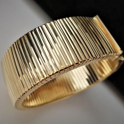 Bratara ampla Cleopatra-argint placat cu aur galben- BROM0155PL16G