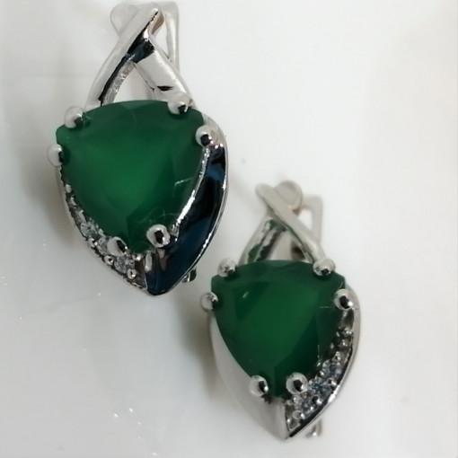 Cercei argint onix verde-VE030372