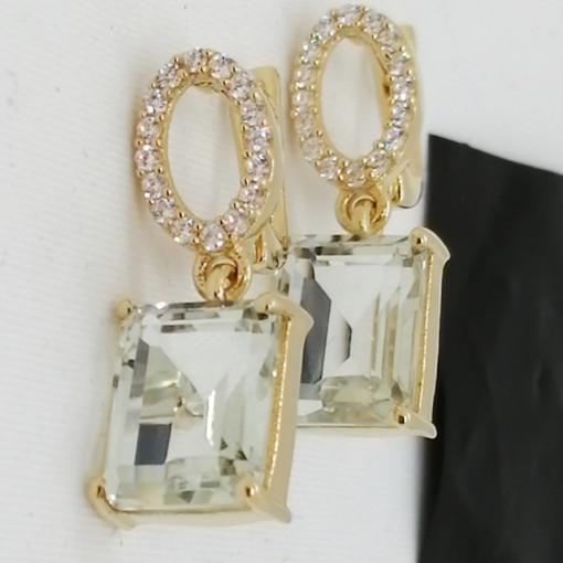 Cercei Celine -argint placat cu aur si ametist verde VE010481