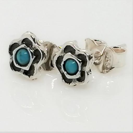 Cercei delicati din argint cu surub turcoaz - E9226A