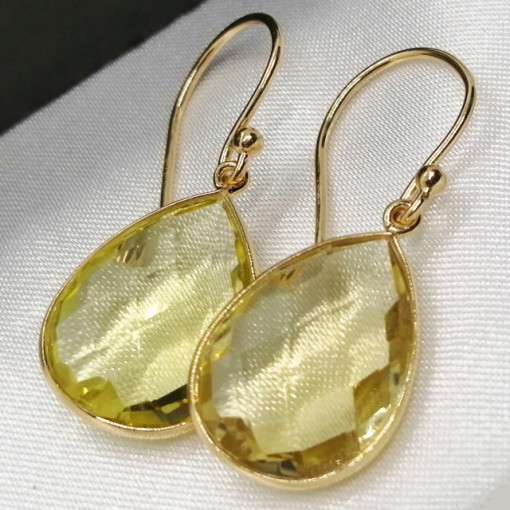 Cercei Ronda -argint placat cu aur VE017554 -lemon topaz